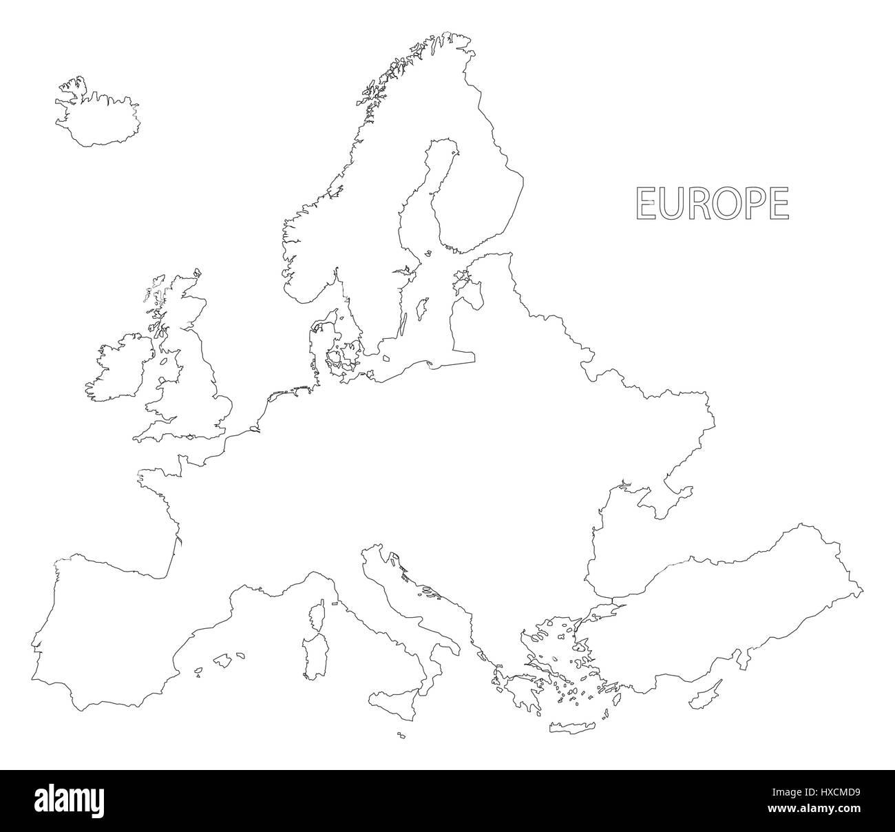 Europa Delineano Silhouette Mappa Immagine In Bianco E Nero