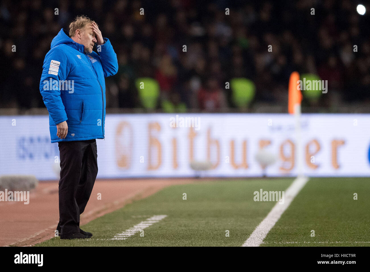Baku in Azerbaijan. 26 Mar, 2017. Quella dell'azerbaigian headcoach Robert Prosinecki durante la Coppa del Mondo Foto Stock