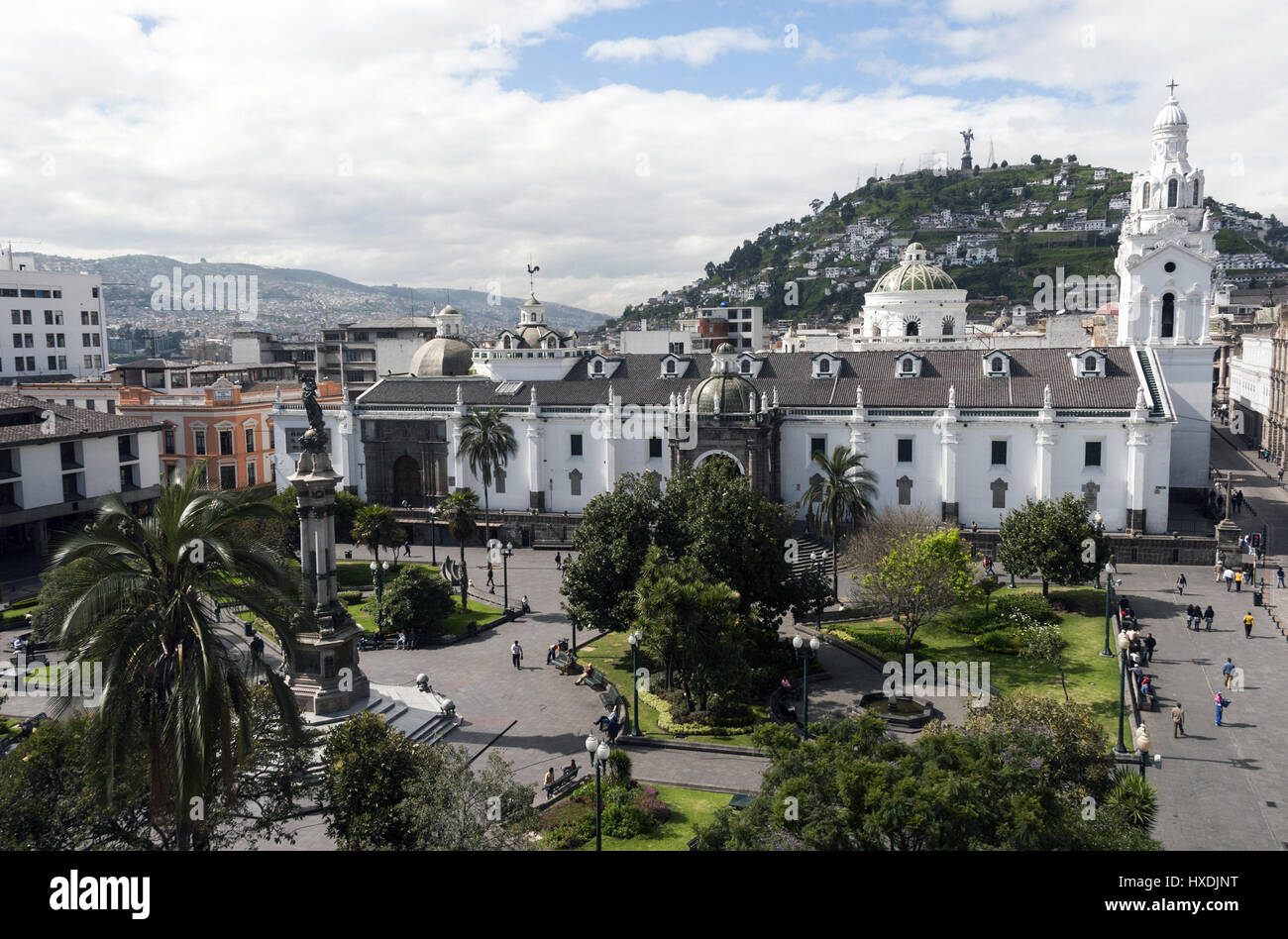 Equador Quito, Plaza Grande con la Cattedrale Immagini Stock