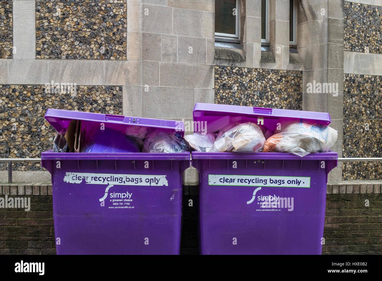 Cassonetti per il riciclaggio di rifiuti per lo smaltimento di rifiuti temi verdi Londra Immagini Stock