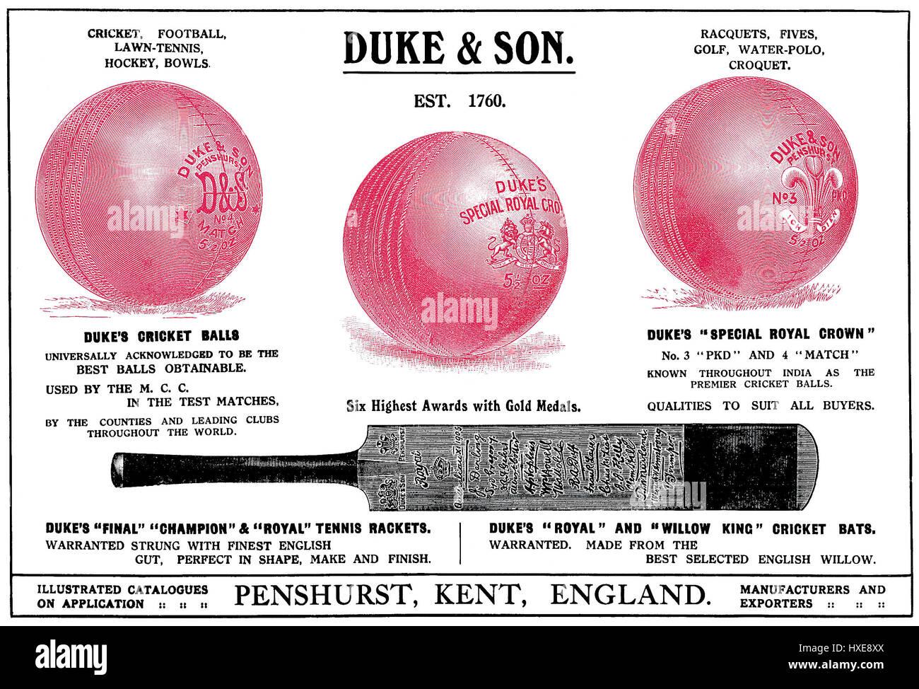 1922 pubblicità indiana per il duca & Figlio attrezzature sportive. Pubblicato in tempi di India, annuale Immagini Stock