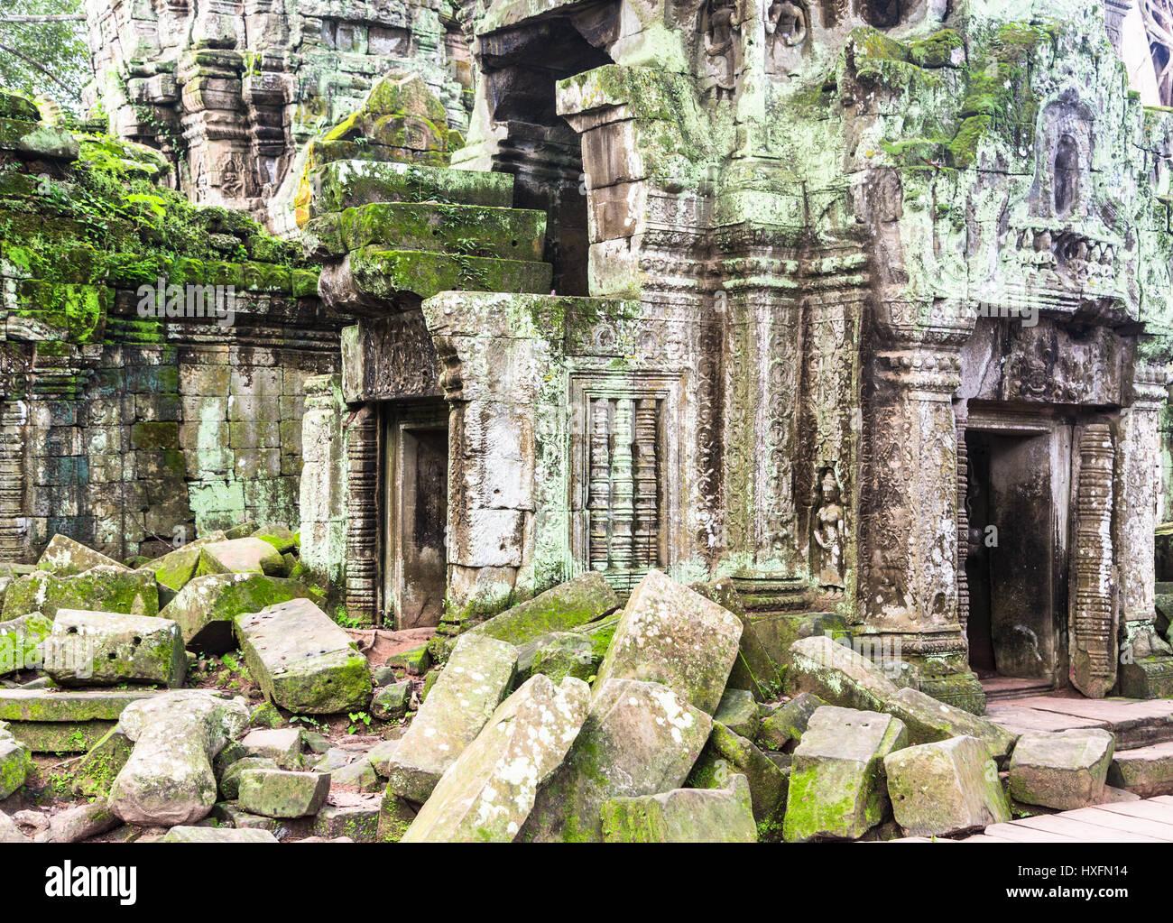 La rovina delle antiche Ta Phrom tempio in Khmer complesso di Angkor vicino a Siem Reap in Cambogia. Questo è Immagini Stock