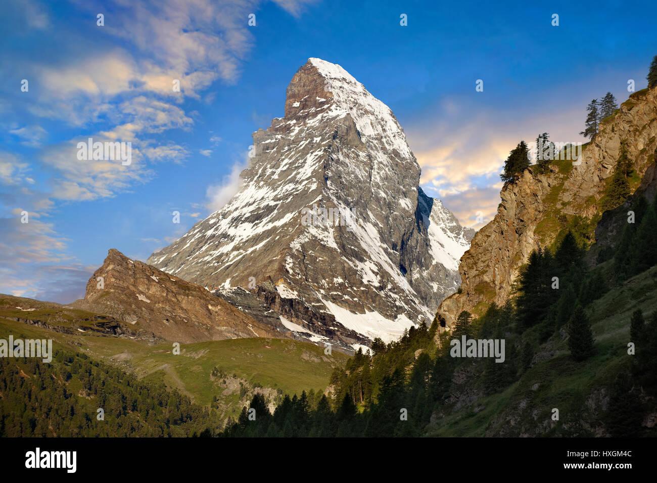 Il Matterhorn o Monte Cervino picco di montagna, Zermatt, Svizzera Immagini Stock