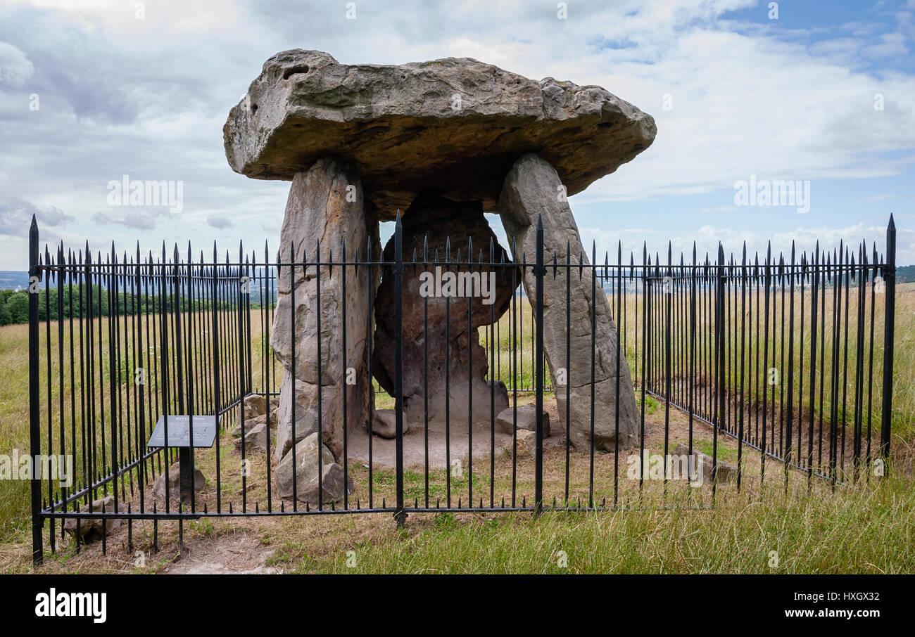 KIt di Coty House - i resti di un chambered neolitico long barrow su Bluebell Hill vicino a Aylesford in Kent REGNO Immagini Stock