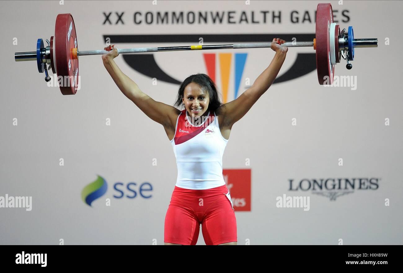 ZOE SMITH Donna Donne di sollevamento pesi il sollevamento pesi Clyde Auditorium GLASGOW Scozia 26 Luglio 2014 Immagini Stock