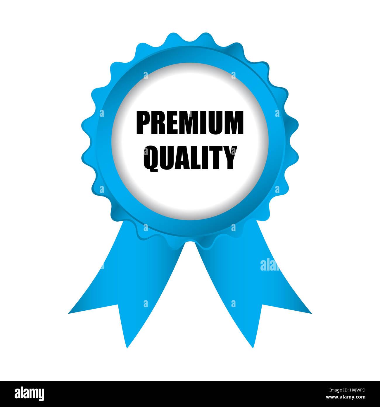 Premio speciale qualità badge blu con nastri, illustrazione vettoriale EPS10 Immagini Stock