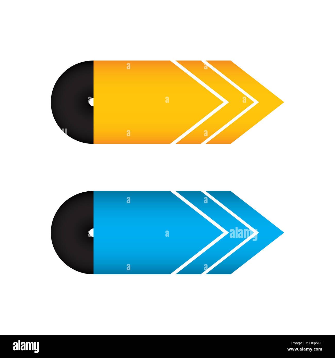 Offerte giallo e freccia blu design, illustrazione vettoriale EPS10 Immagini Stock