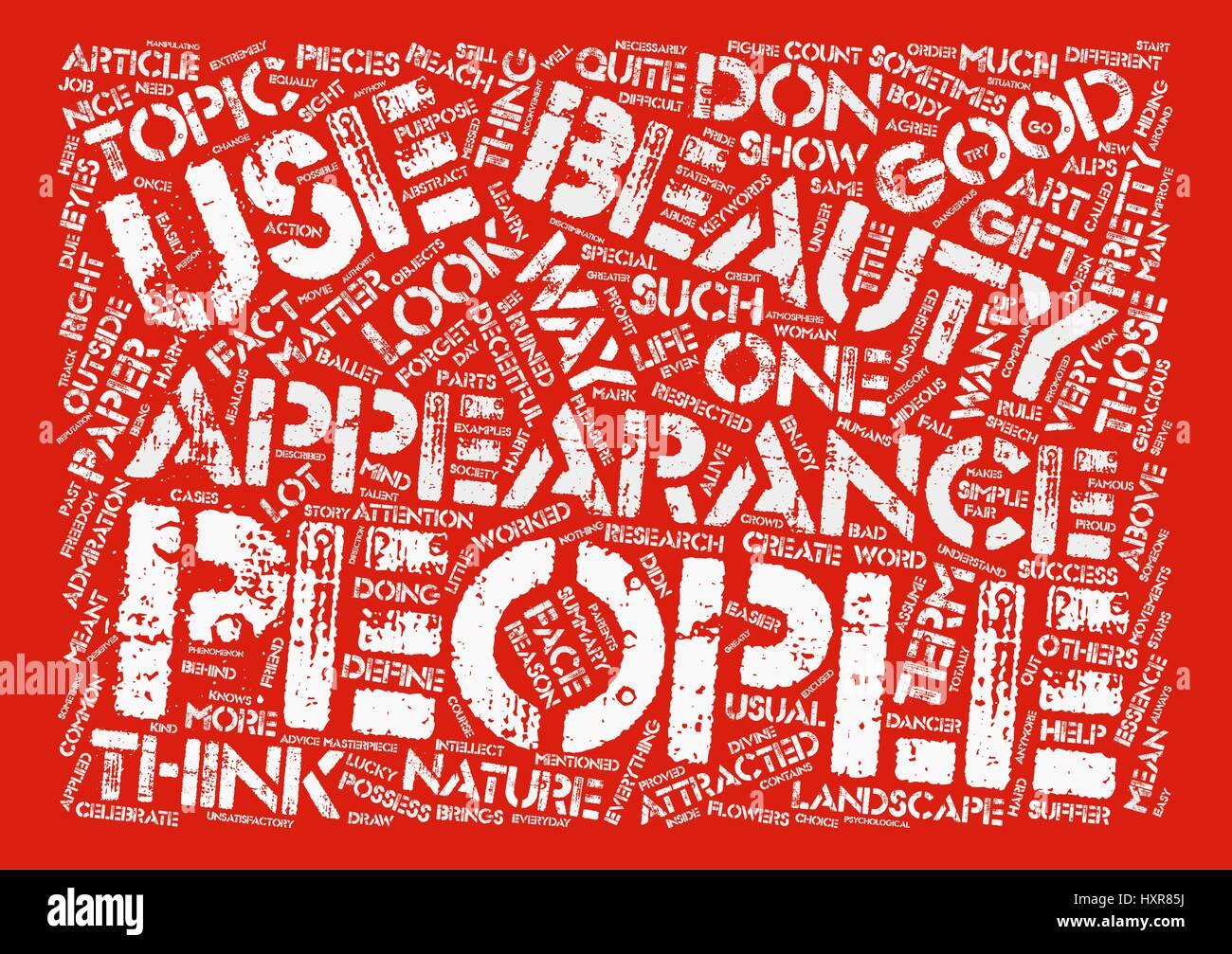 L'apparenza ingannevole sfondo testo parola concetto di cloud Immagini Stock