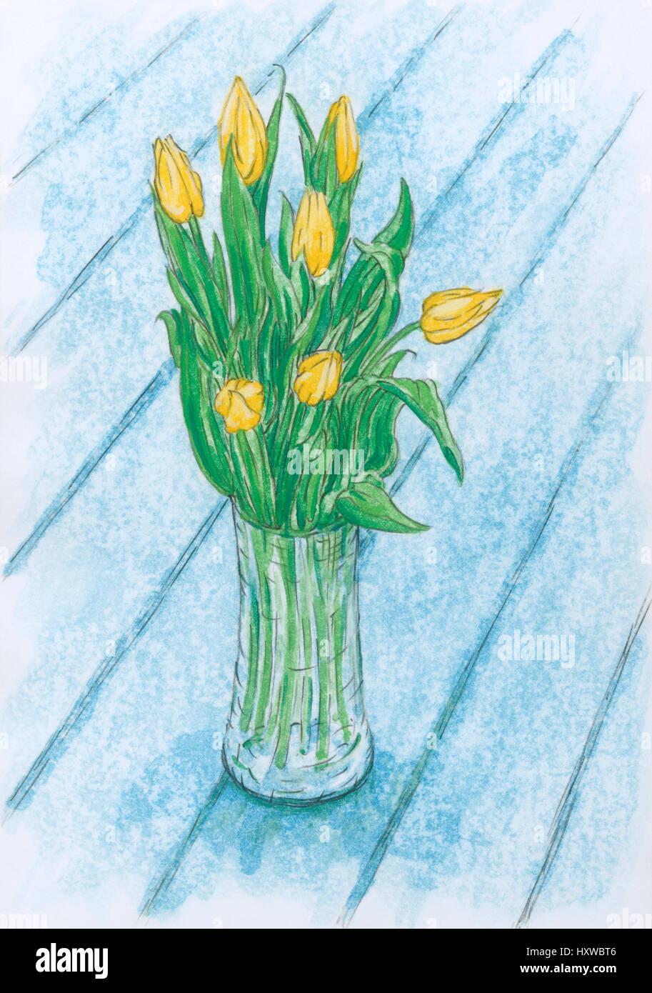 Vita Tranquilla con il tulipano giallo fiori in vaso di vetro. Matita e gouache su carta ruvida. Immagini Stock