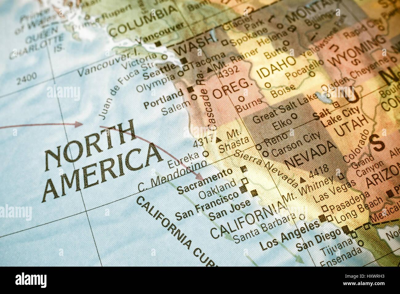 America Occidentale Cartina.Mappa Nord Ovest Degli Usa Close Up Macro Immagine Della Mappa Nord America Occidentale Messa A Fuoco Selettiva Foto Stock Alamy