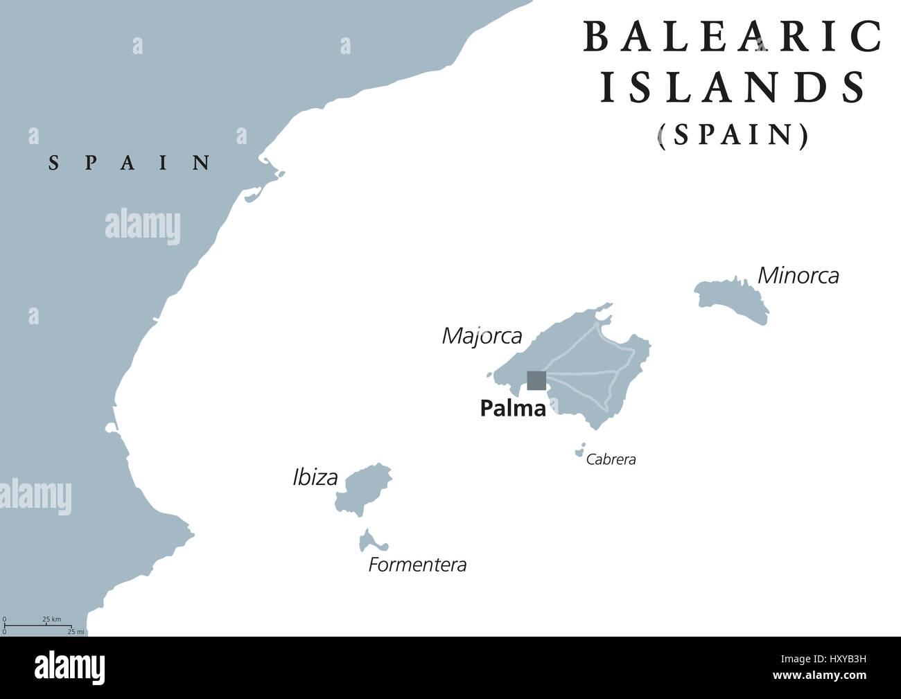 Cartina Geografica Spagna E Formentera.Isole Baleari Mappa Politico Con Capitale Palma Maiorca E Minorca Ibiza E Formentera Spagna Comunita Autonoma Nel Mare Mediterraneo Foto Stock Alamy