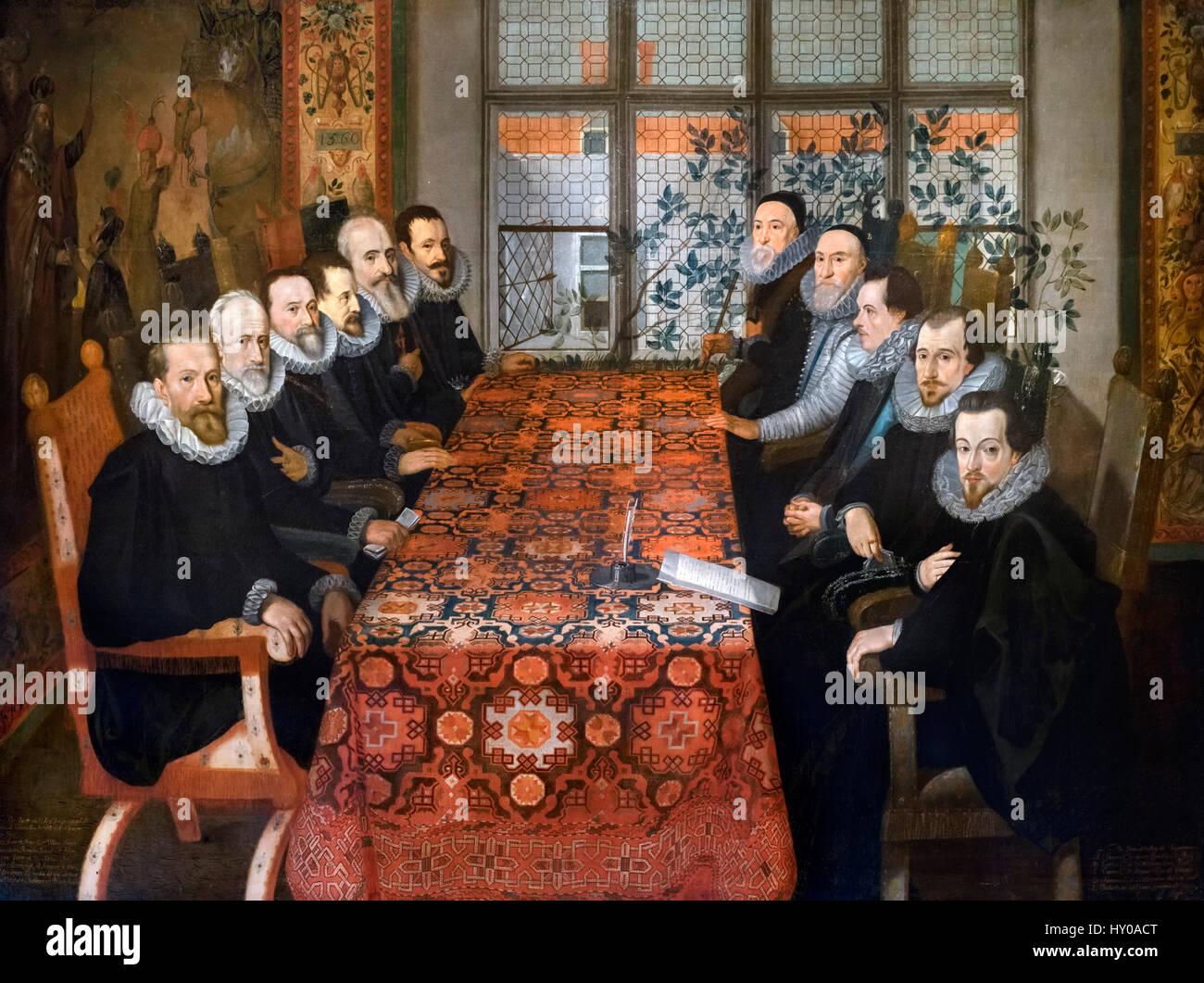 """""""Casa omerset conferenza, 19 agosto 1604' da Juan Pantoja de la Cruz, olio su tela, c.1604. Il Trattato Immagini Stock"""