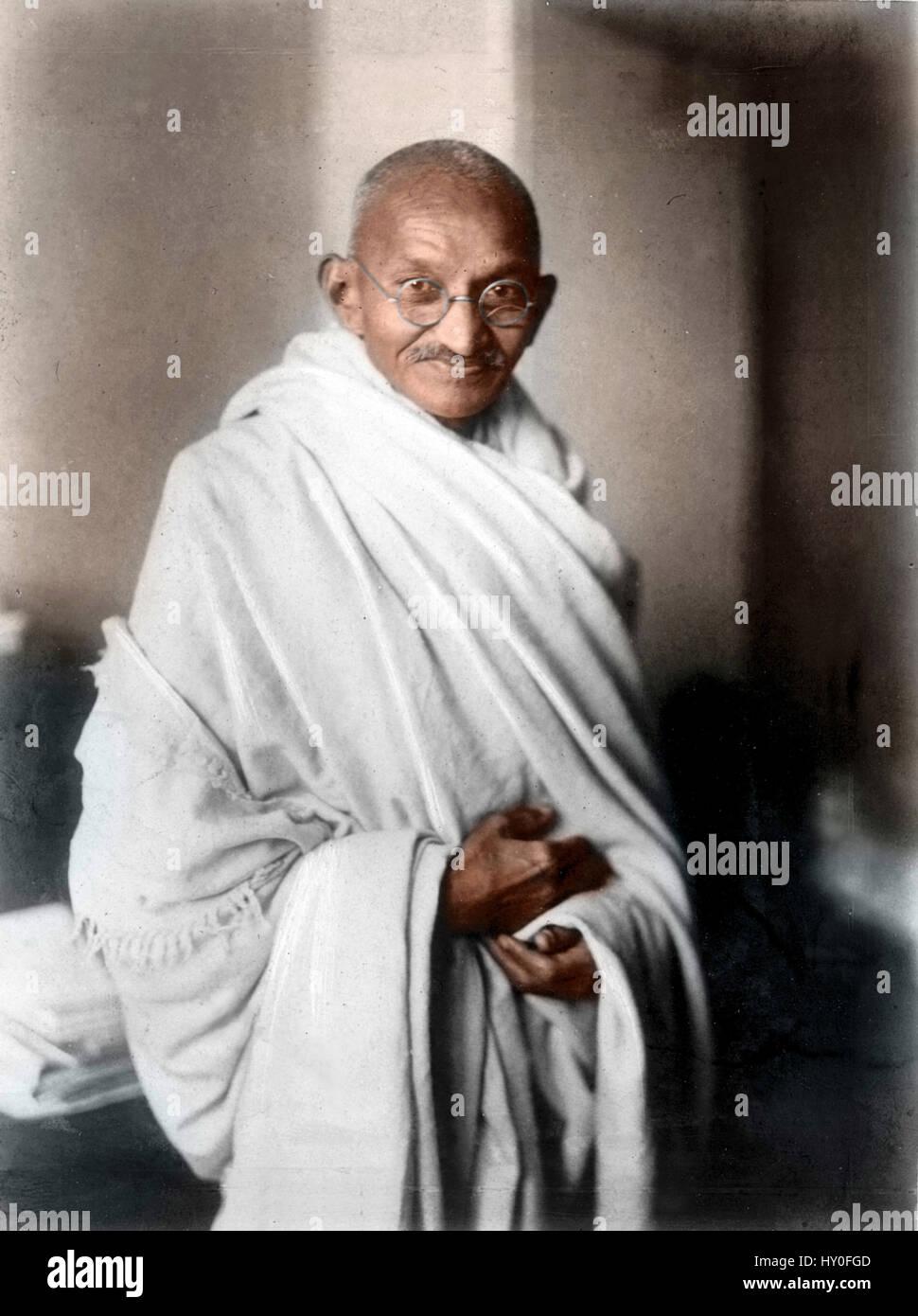 Indian combattenti per la libertà, il mahatma Gandhi, London, 1931 Foto Stock