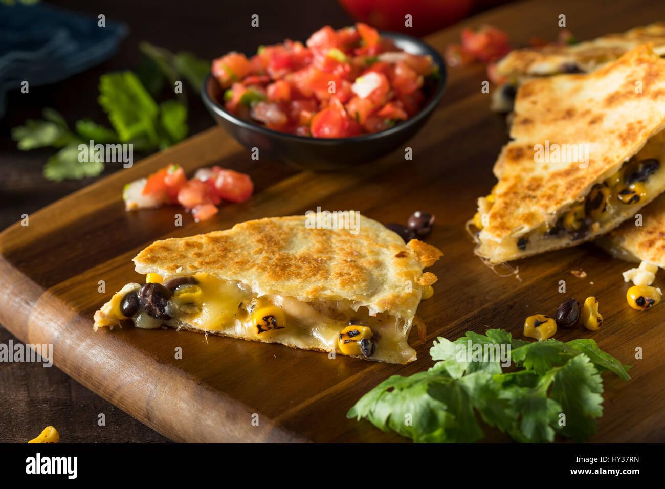 In casa di pollo e formaggio Quesadilla con la salsa e coriandolo Immagini Stock