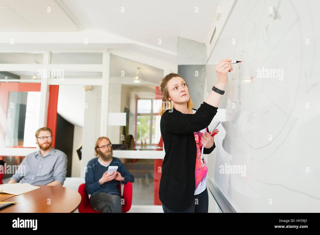 La Svezia, giovane donna disegno sulla lavagna bianca durante riunioni di lavoro Immagini Stock