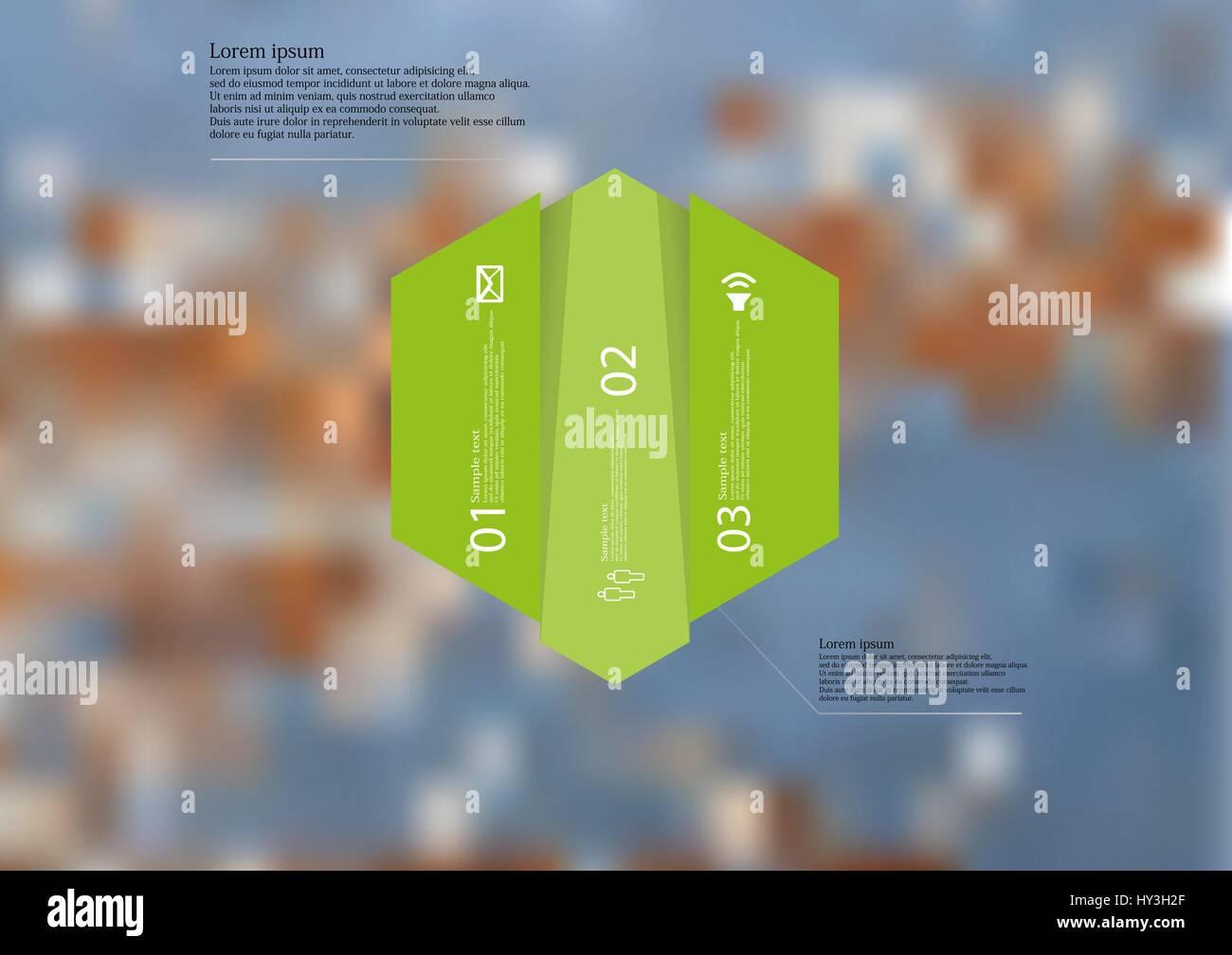 Illustrazione modello infografico con motivo di esagono diviso verticalmente in tre spostato le sezioni verde. Foto Immagini Stock