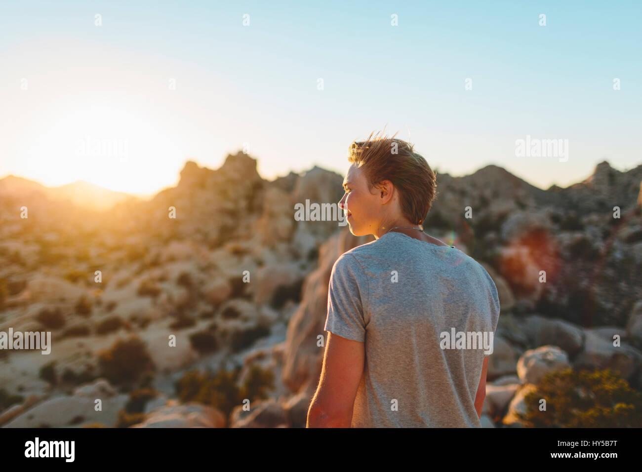 Stati Uniti, California, Joshua Tree National Park, giovane contemplando al tramonto Immagini Stock