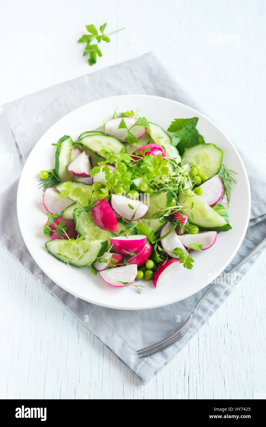 Molla di sana insalata di verdure con radicchio, cetriolo, i piselli e i germogli, dieta vegetariana, vegan, organico, Immagini Stock