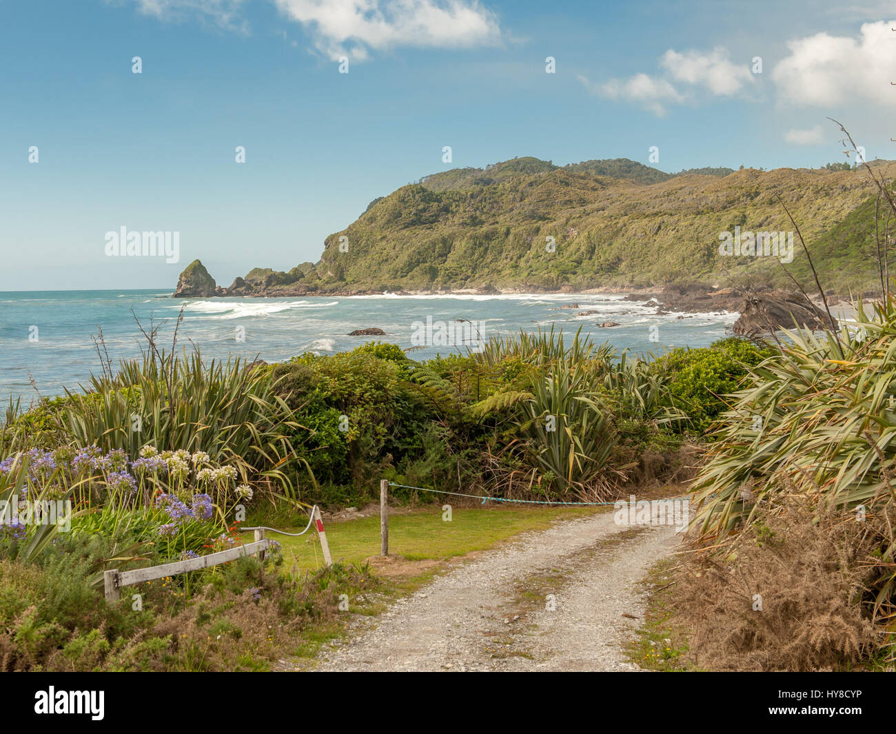 Costa Ovest a nord di Punakaiki, Isola del Sud, Nuova Zelanda Immagini Stock