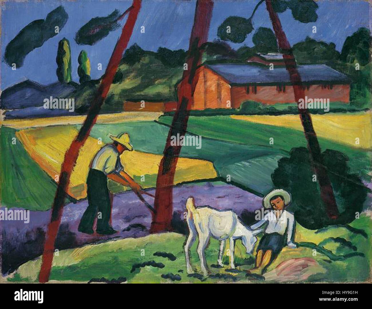 August Macke Landschaft mit Bauer Junge und Ziege 1914 Immagini Stock