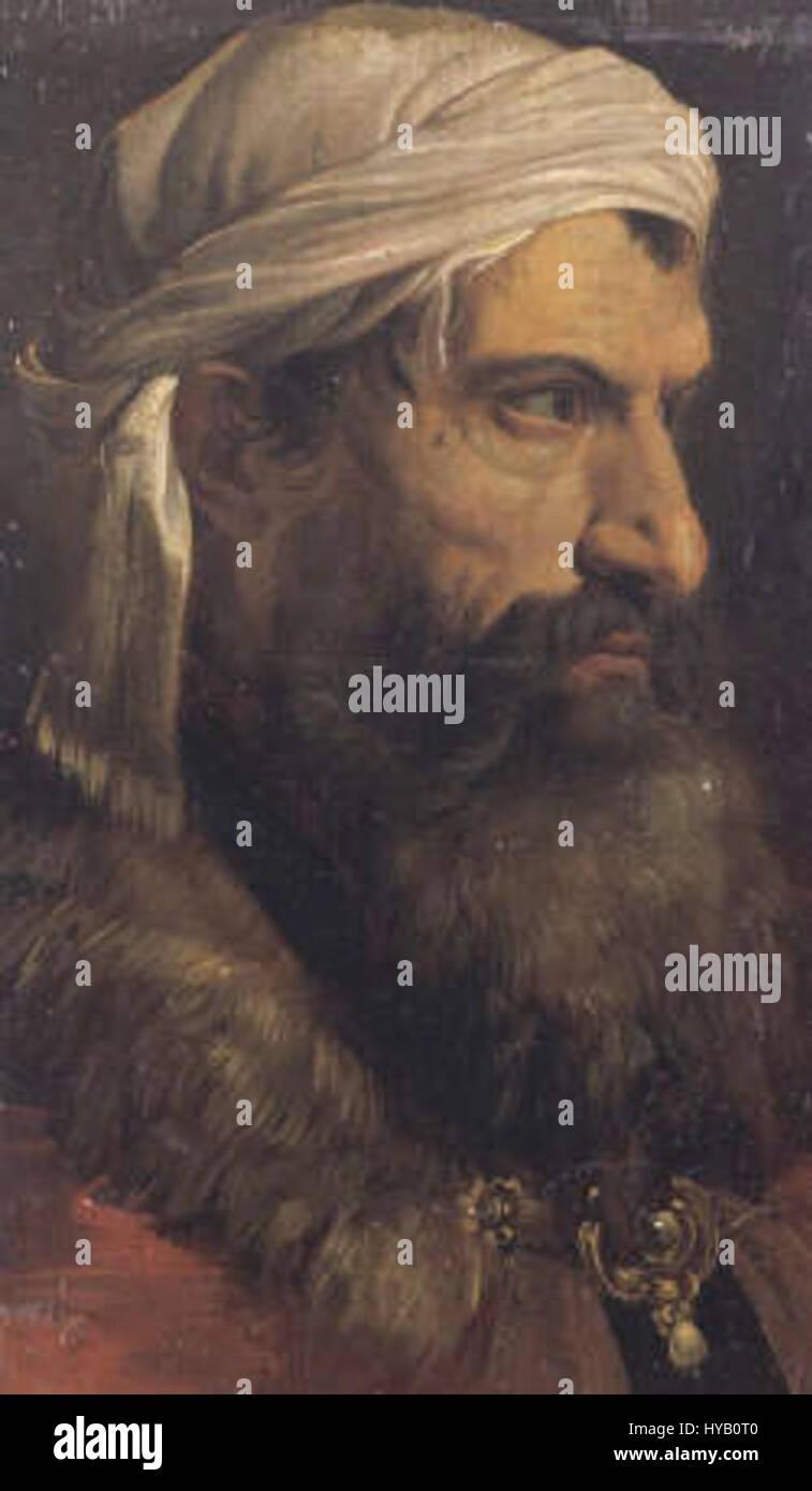 Annibale Carracci, uomo di turbante Immagini Stock