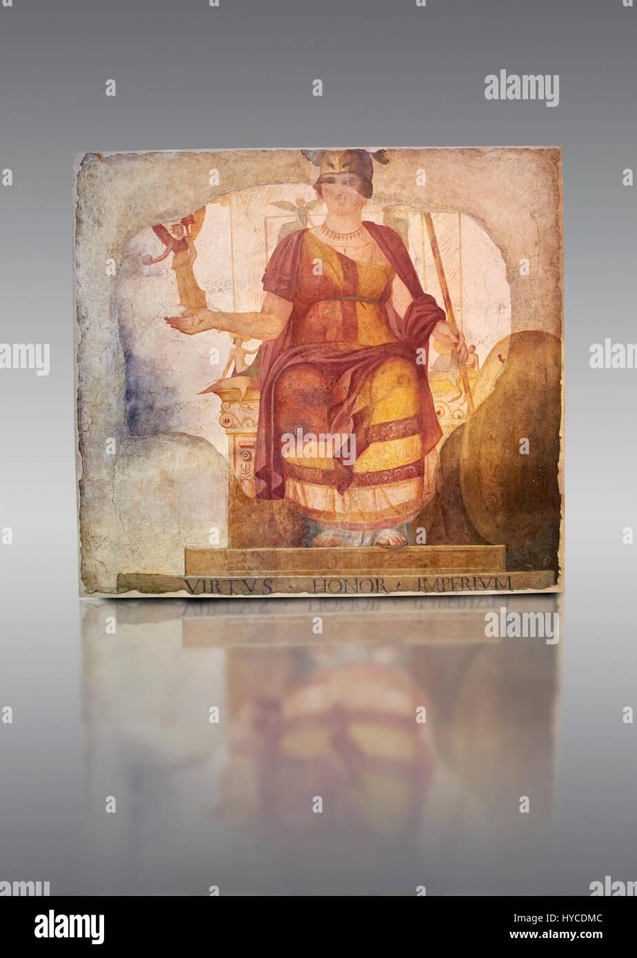 """Affresco di Venere seduta restaurata come Roma conosciuta come """"Dea Barberini"""" (""""Barberini dea""""), Immagini Stock"""
