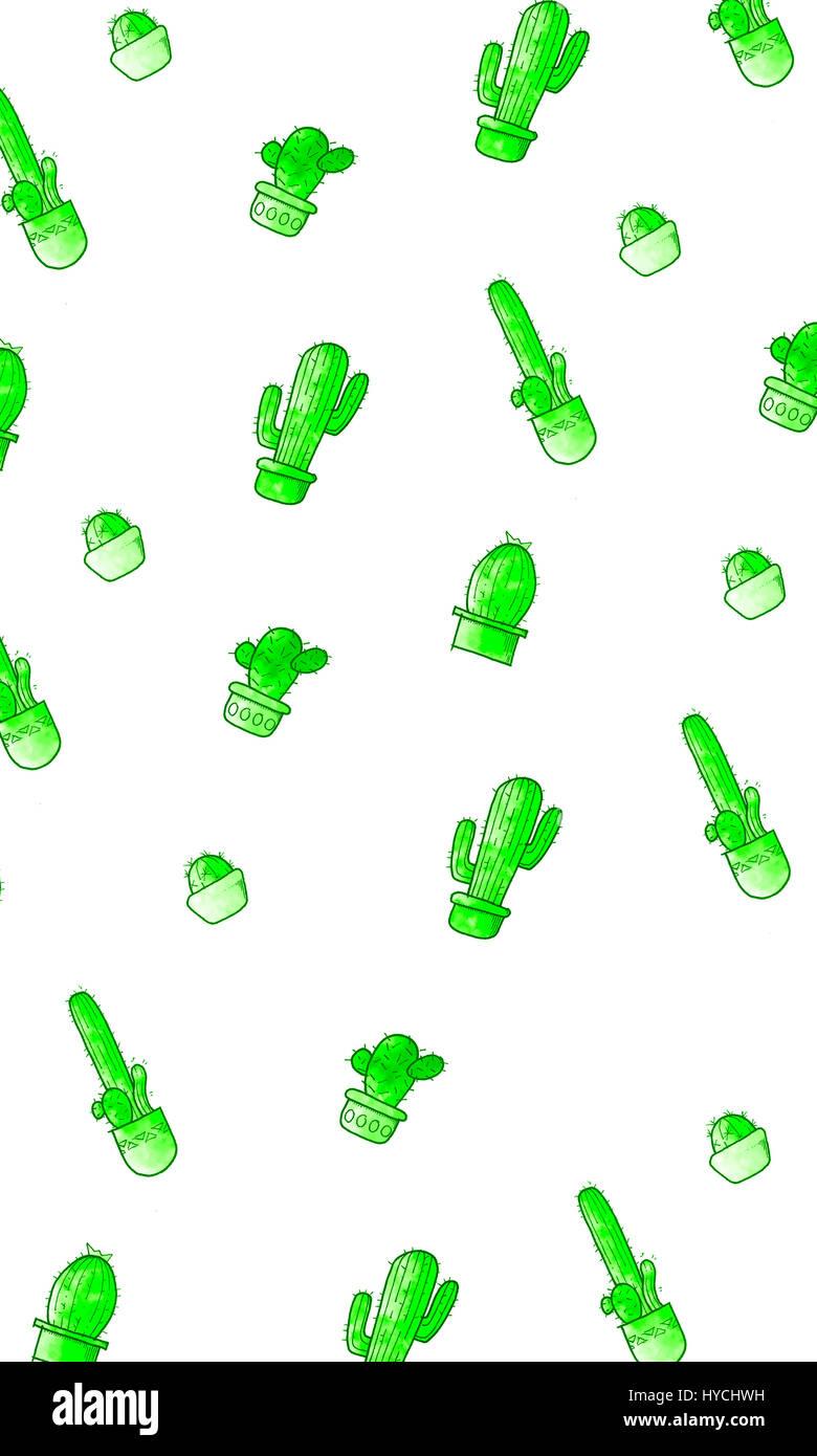 Cartoon carino cactus pattern. cacti in pentole. Immagini Stock