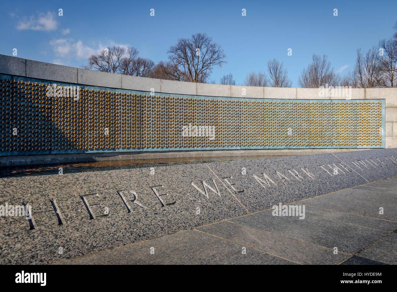 Parete Doro : Stelle doro della parete libera al memoriale della seconda guerra