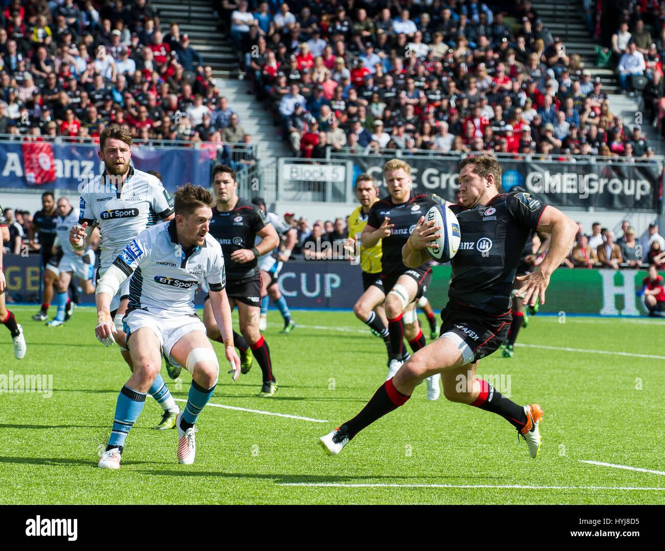 Saraceni vs Glasgow Warriors Immagini Stock