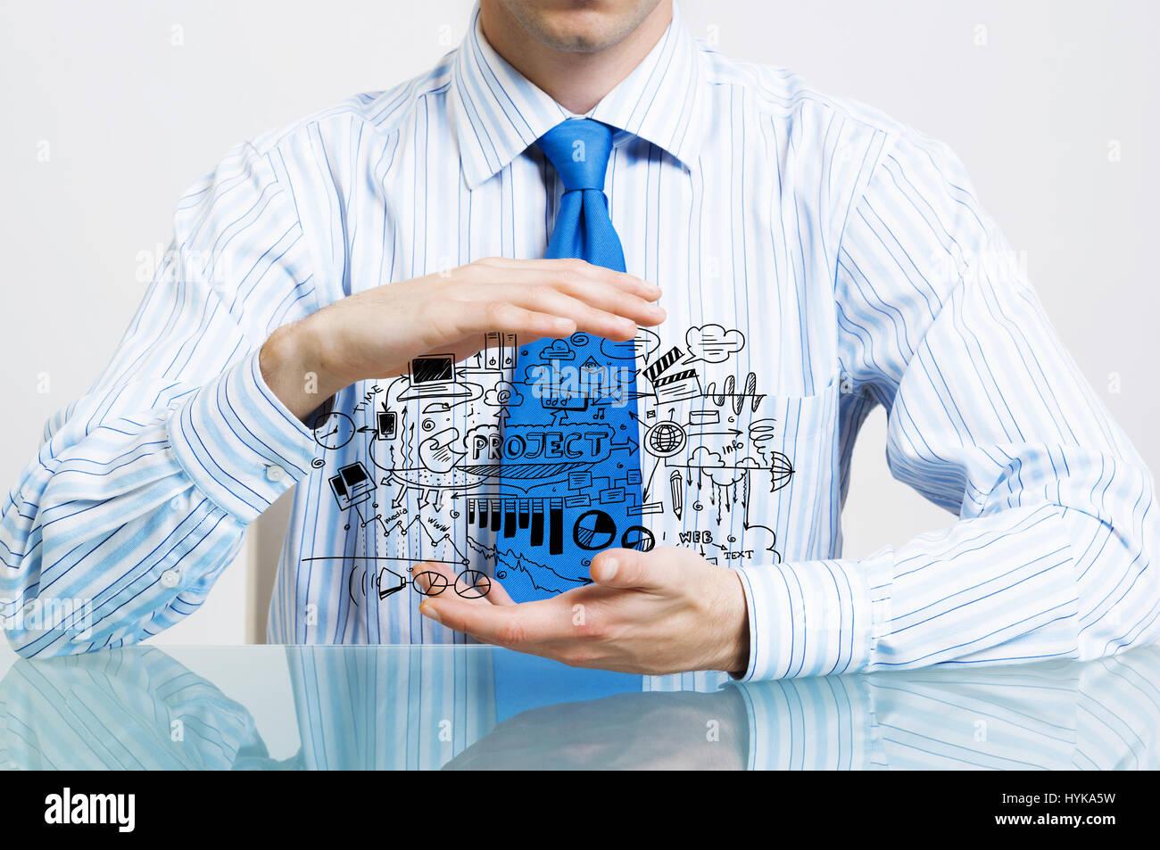Imprenditore dimostrare il suo piano di business Foto Stock