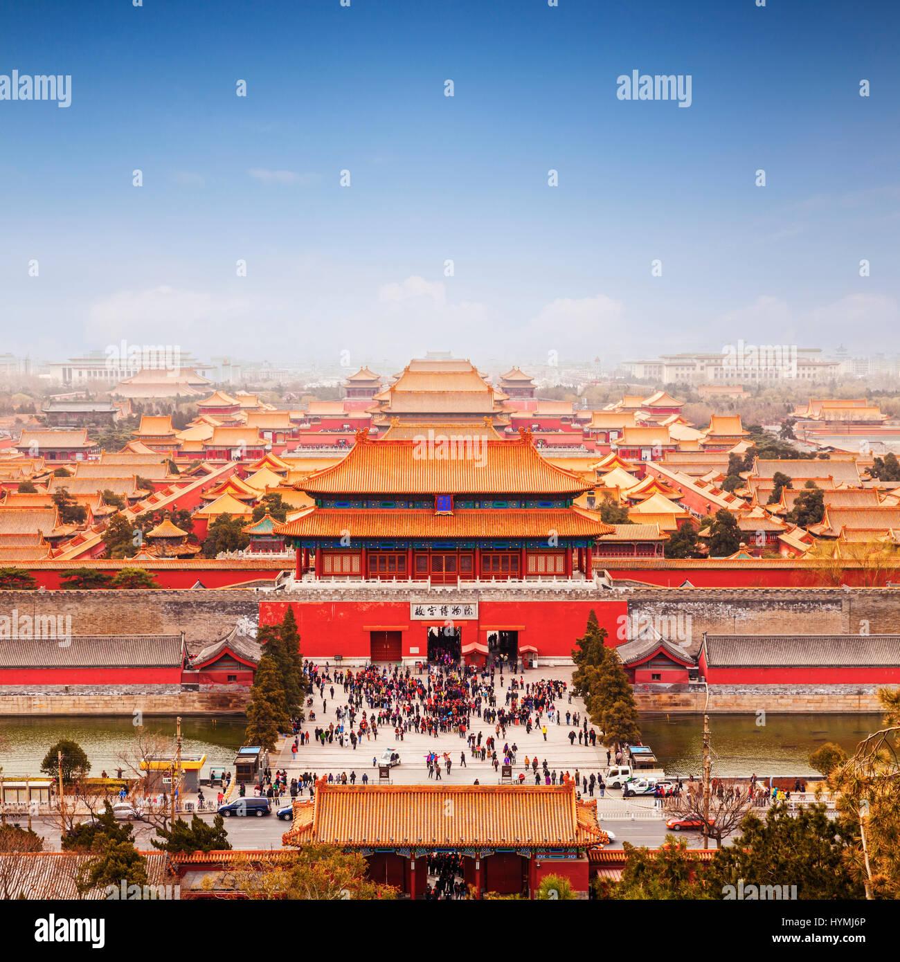 Vista aerea della Città Proibita di Pechino, Cina, formato quadrato. Foto Stock