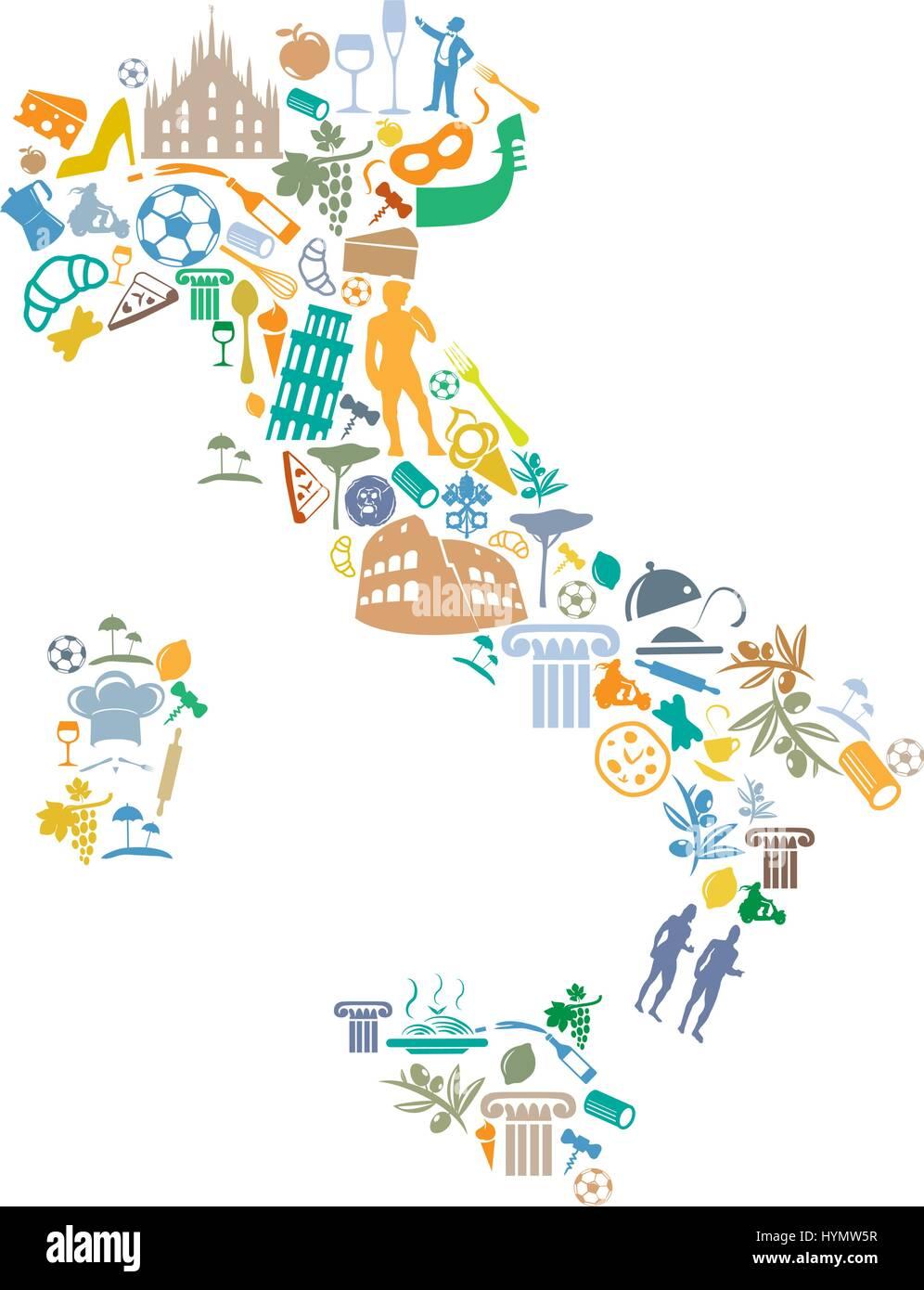 Italia Cartina Vettoriale.Mappa Italiana Con Silhouette Il Set Di Simboli Immagine E Vettoriale Alamy
