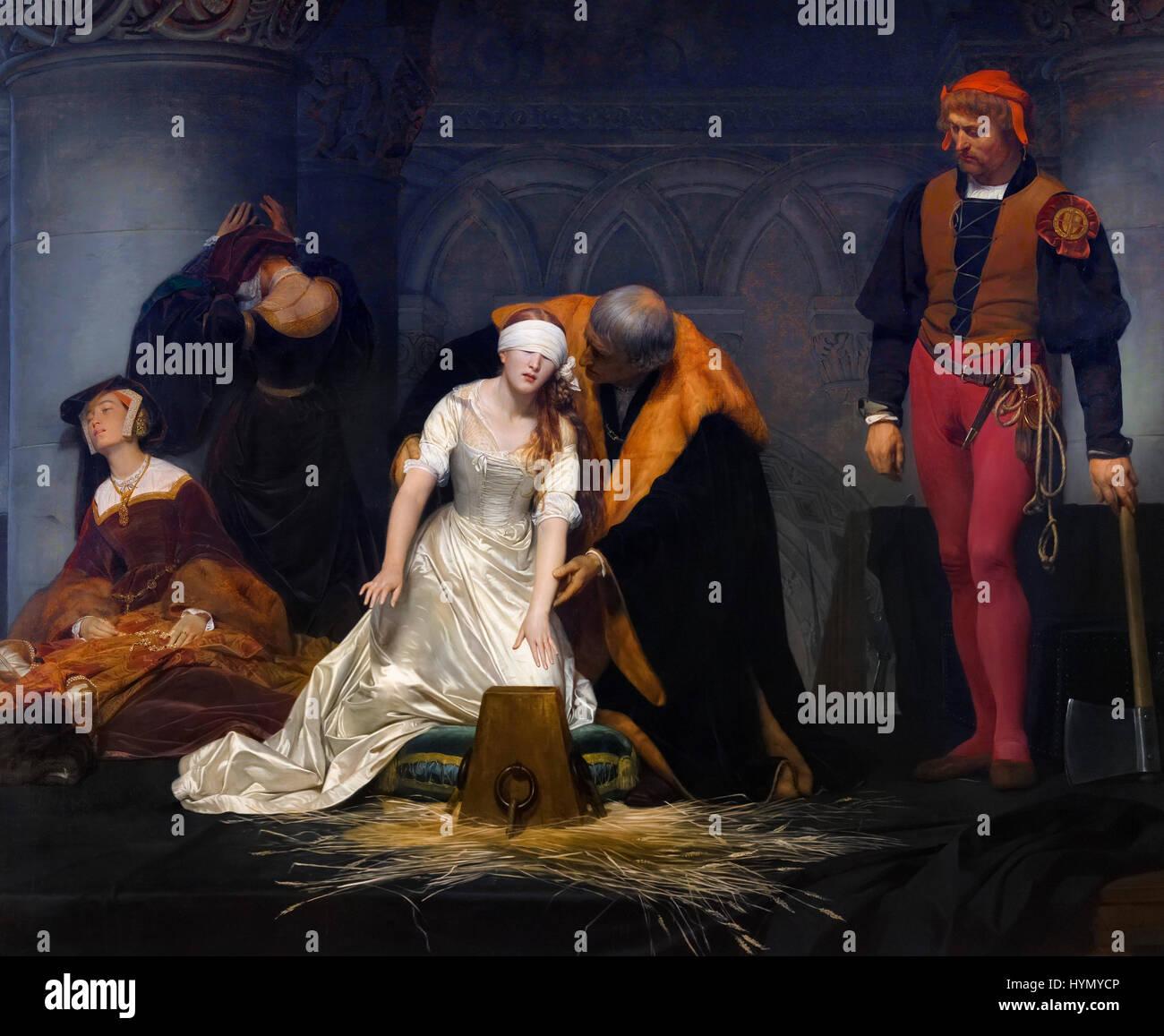 L'esecuzione di Lady Jane Gray di Paul delaroche (1795-1856), olio su tela, 1833. Lady Jane Grey regnò Immagini Stock