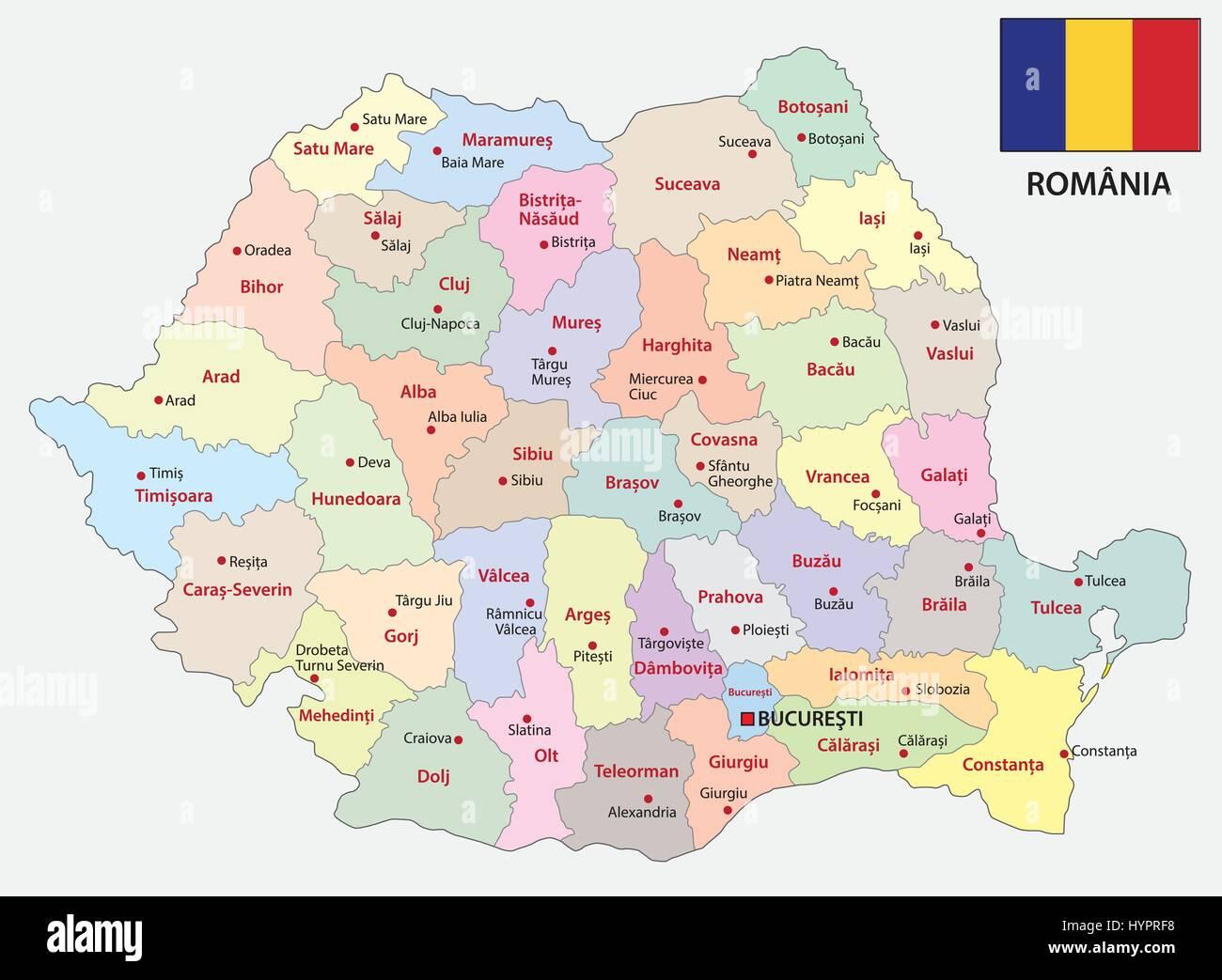 Cartina Romania Regioni.La Romania Mappa Amministrativa Immagine E Vettoriale Alamy