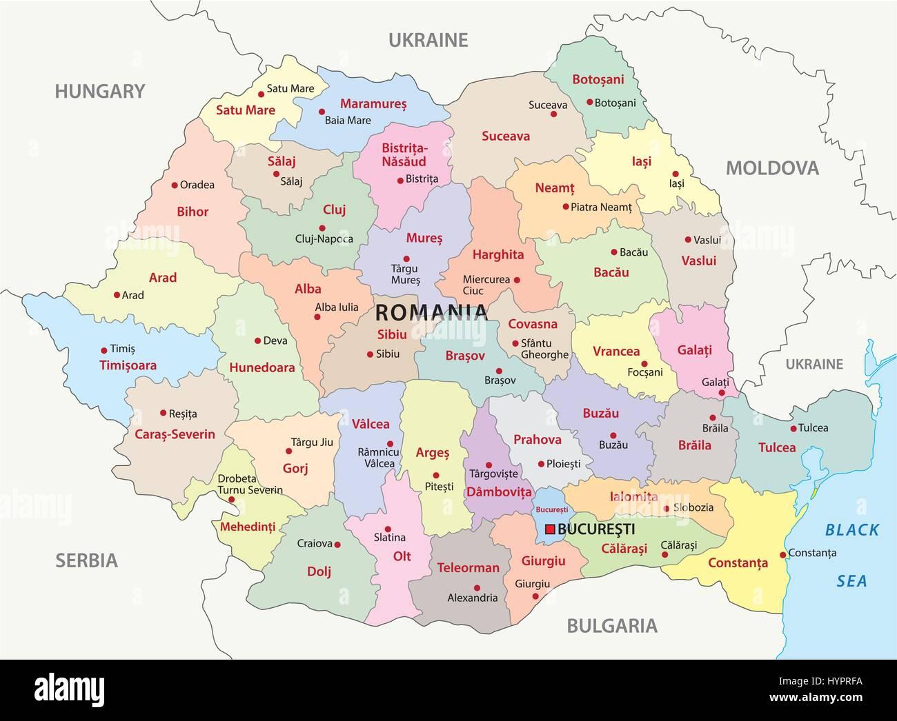 Cartina Dettagliata Romania.La Romania Mappa Amministrativa Immagine E Vettoriale Alamy