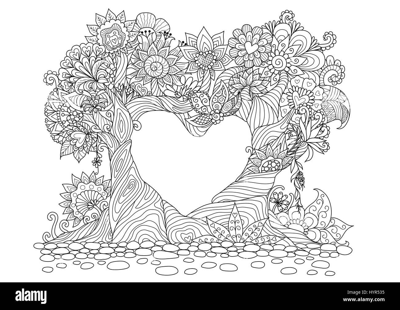 Colorazione Amore Pagina Vettore Abstract Book Giorno Foresta