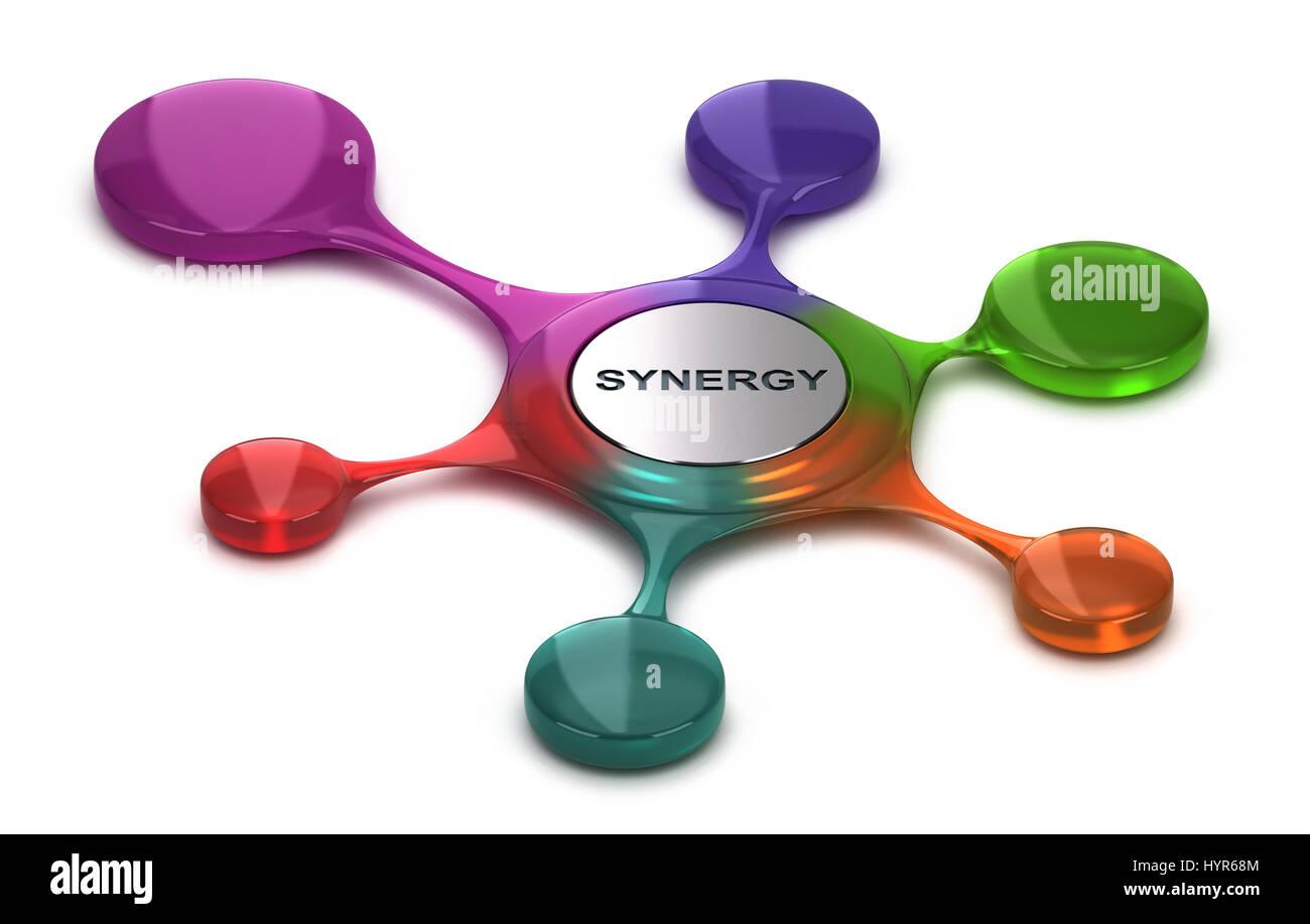 Simbolo di sinergia su sfondo bianco. Concetto di team building o di coesione. 3D illustrazione Immagini Stock