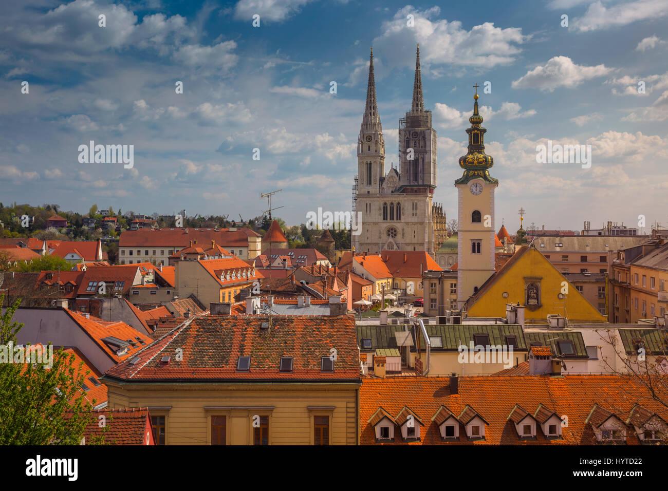 Zagabria. Immagine Cityscape di Zagabria Croazia durante la soleggiata giornata di primavera. Immagini Stock