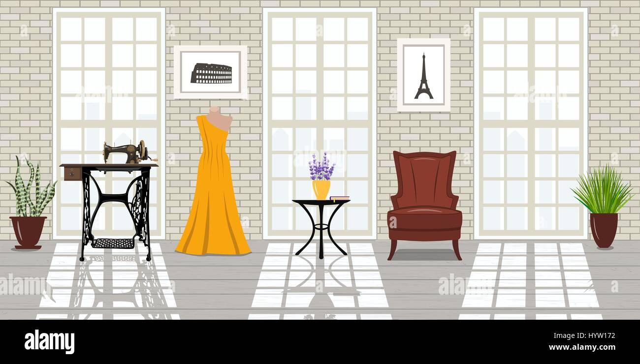 Da Luce Alla Soffitta salone di moda, sottotetto interno. grandi finestre, mattone