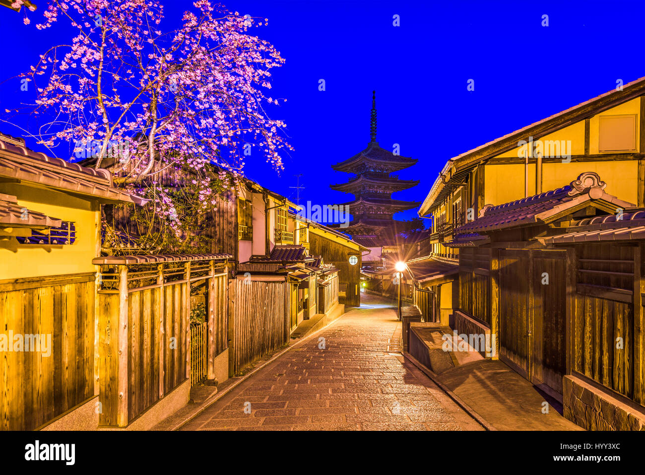 Kyoto, Giappone nel quartiere di Higashiyama durante la primavera. Immagini Stock