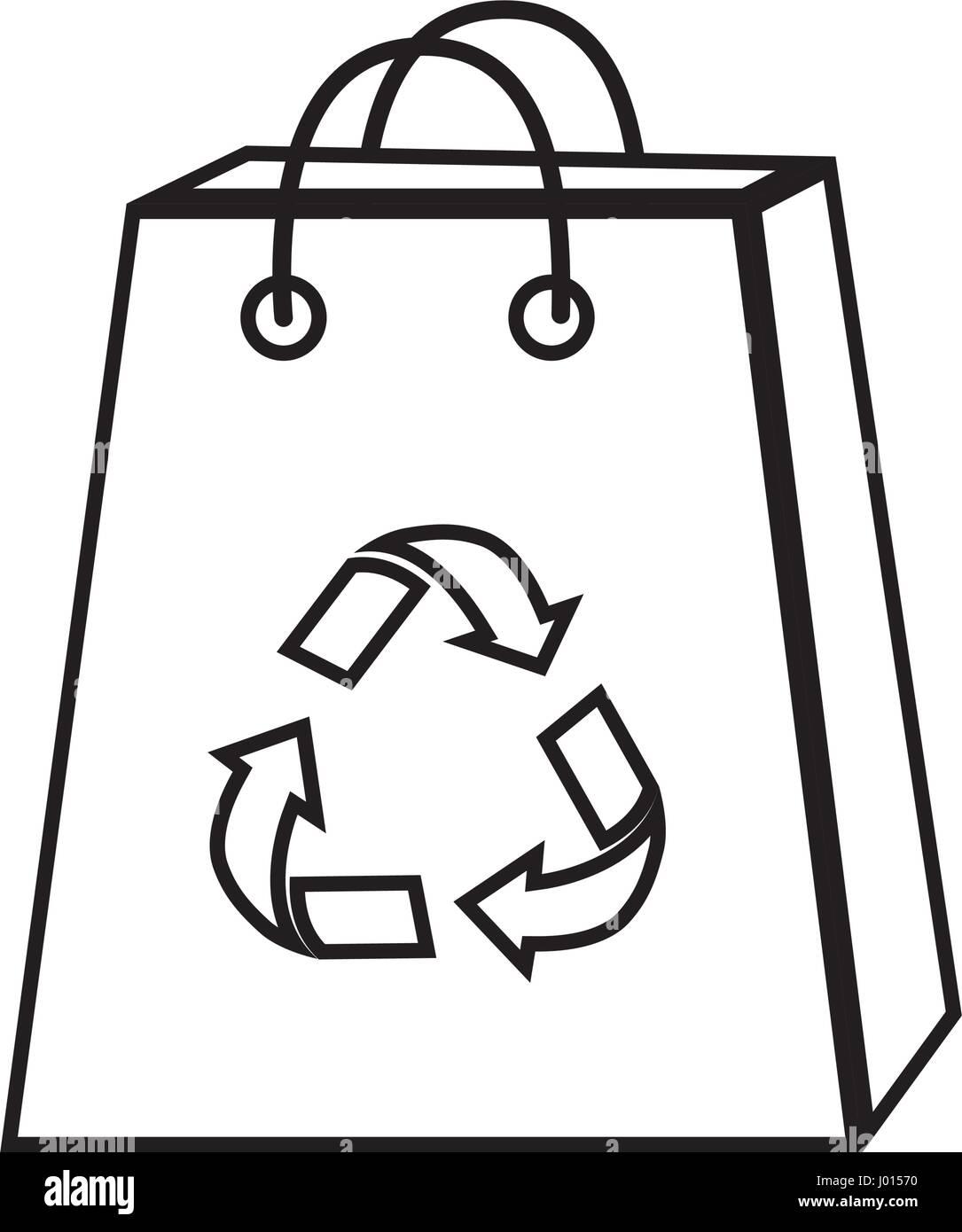Silhouette borsa con ridurre, riutilizzare e riciclare il simbolo Immagini Stock