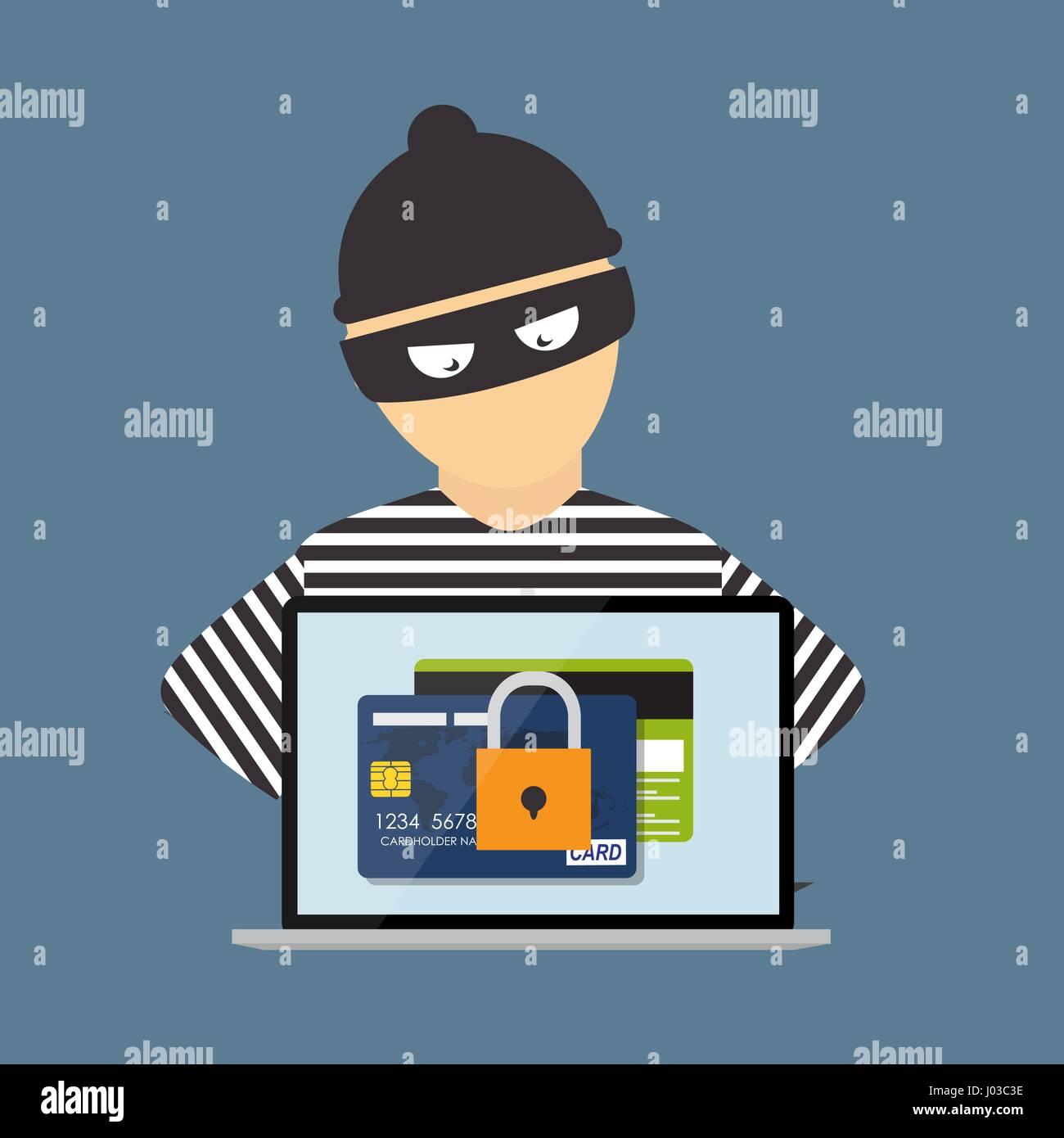 Hacker penale, la nozione di frode, cyber criminalità. Vector illustrat Immagini Stock
