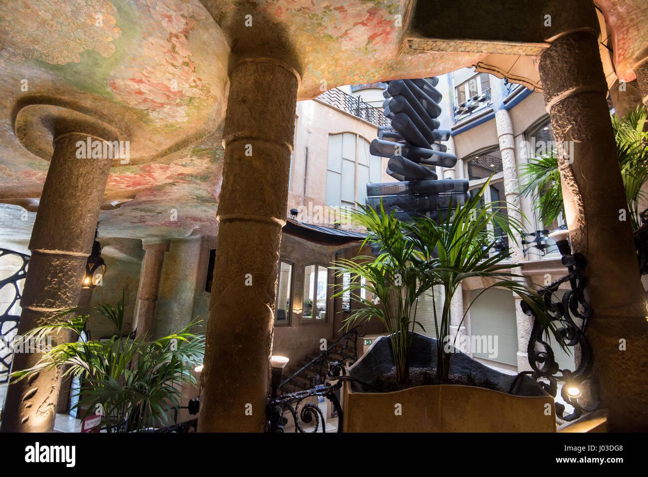 All'interno della Casa Mila (La Pedrera di Gaudi, Barcellona Spagna Immagini Stock