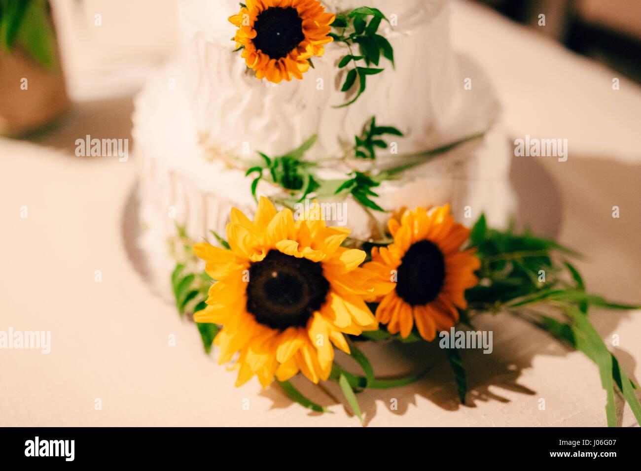 Torte Matrimonio Girasoli : Torta nuziale decorata con fiori di girasole foto & immagine stock