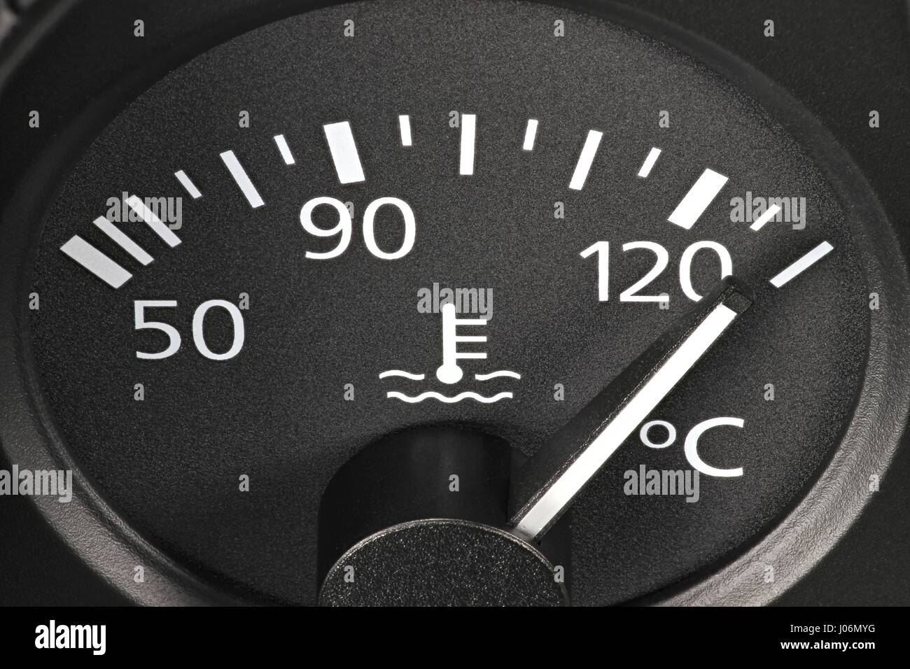 Indicatore di temperatura nel cruscotto di automobile - hot Immagini Stock