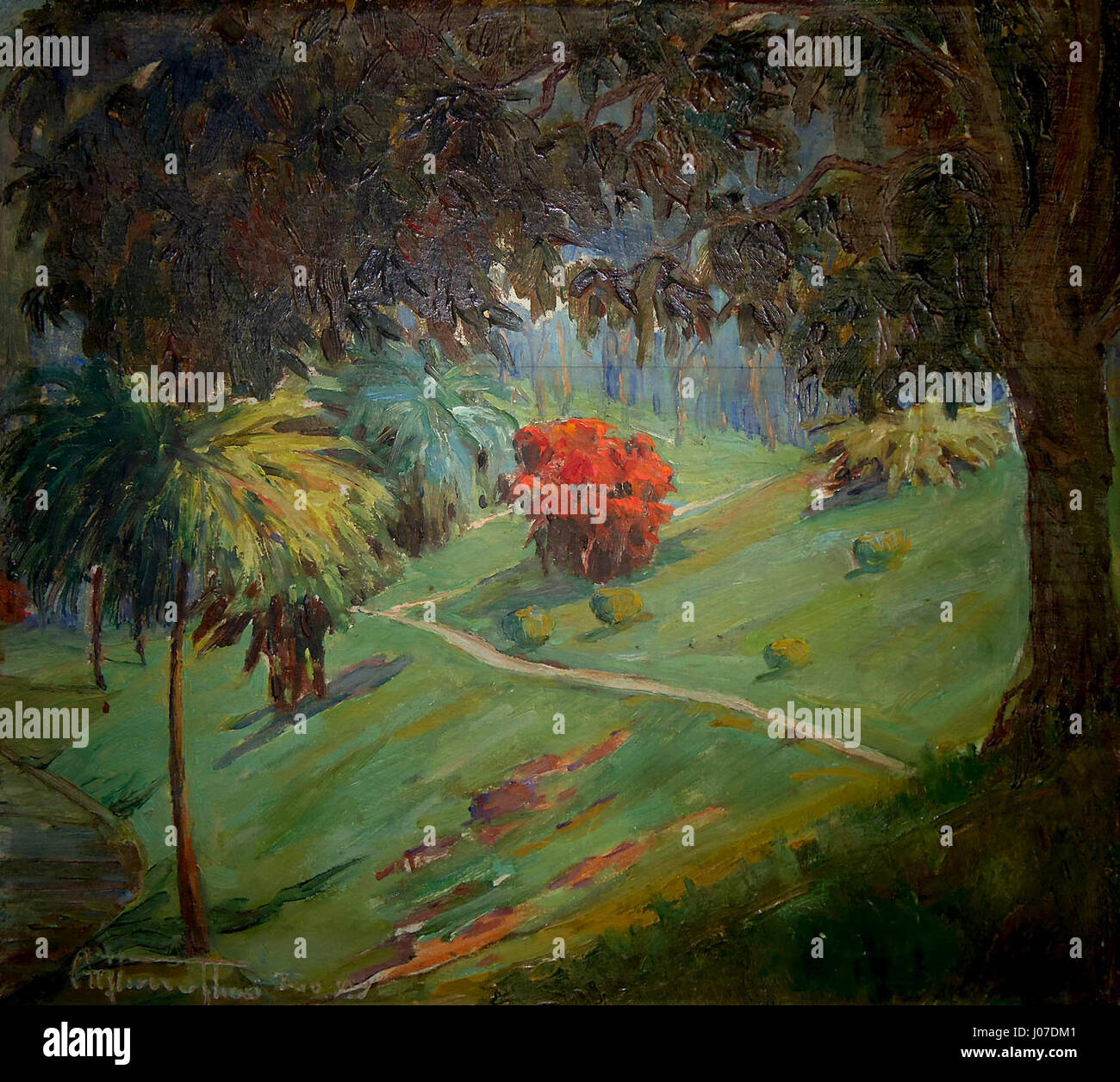 Arthur Timótheo da Costa, paisagem com arbusto vermelho, Rio de Janeiro, 1914, óleo sobre madera, 28 x Immagini Stock