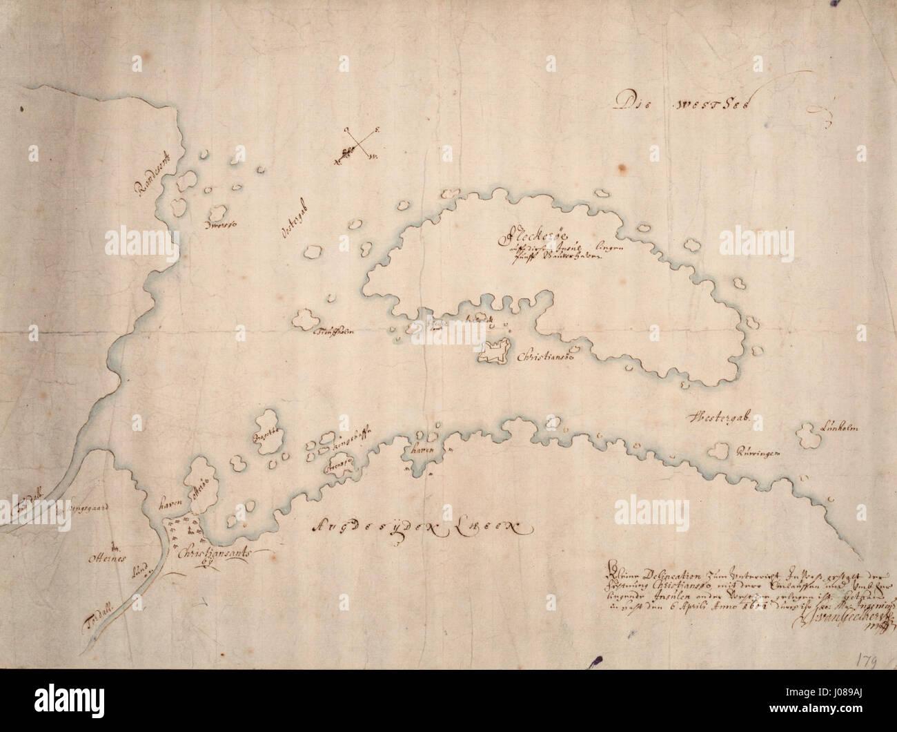 Kleine delineazione zum Unterricht in era gestalt der Festung Christiansøe - no-nb krt 00892 Immagini Stock
