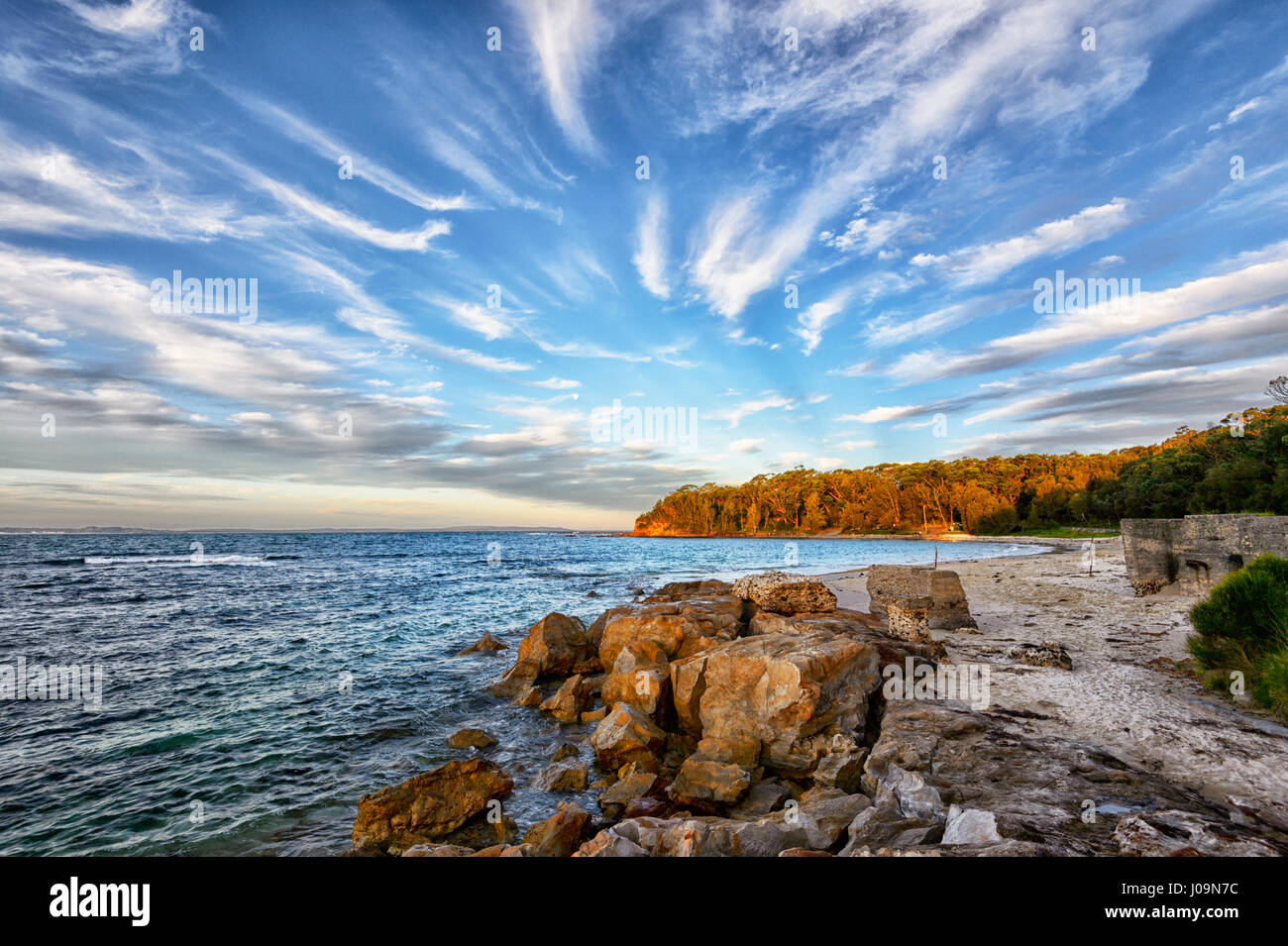 Sunset over lavandaia's Beach, Bendalong Beach, Shoalhaven, South Coast, Nuovo Galles del Sud, NSW, Australia Immagini Stock