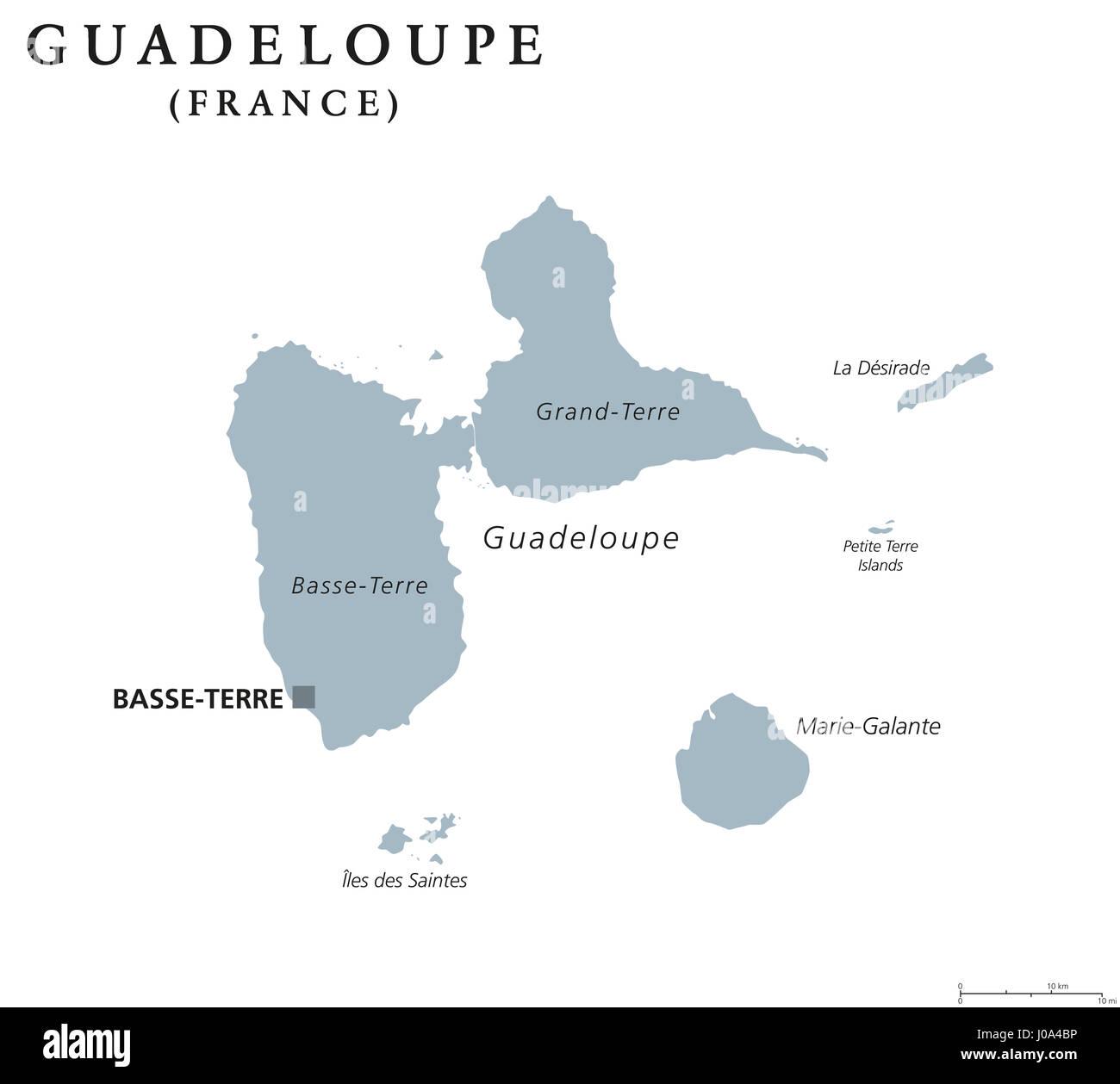 Guadalupa mappa politico con capitale Basse-Terre. Isole dei Caraibi e la regione di oltremare della Francia in Piccole Antille ed Isole Sottovento. Foto Stock