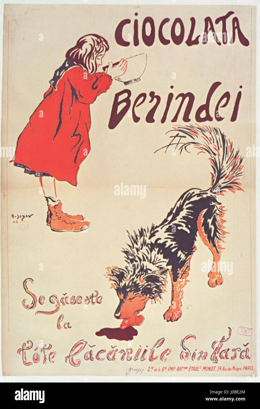 Ciocolata Berindei poster Joyau Amédée Foto Stock